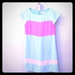 Turquoise, pink and cream shift dress
